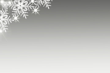 Shiny Christmas background with snowflakes and place for text. Blue holiday background with copy space
