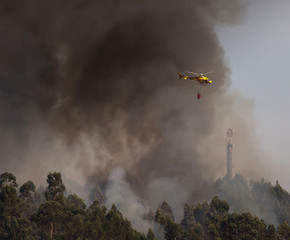 Portuguese Civil Protection Firefighter Helicopter Dropping Water on a Fire 6