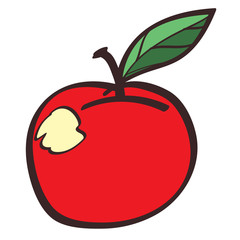 Red apple colored button with a black outline on a white background.