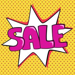 Pop art illustration of sale lettering.