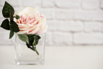 Pink Rose Mock Up. Styled Stock Photography. Floral Styled Wall Mock Up. Rose Flower Mockup, Valentine Mothers Day Card, Giftcard, White Desk Mockup