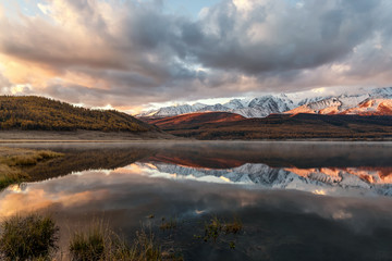 lake mountains reflection snow sunrise