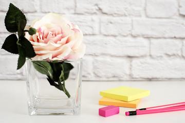 Hot Pink Styled Desktop. Garden Roses Styled Stock Photography. Product Mockup, Graphic Design. Rose Flower Mockup. Feminine Light Mock up