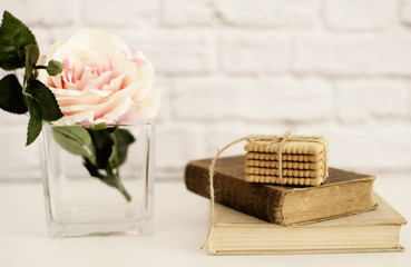 Pink Rose Mock Up. Old Books and Cookies. Styled Stock Photography. Floral Styled Wall Mockup, Valentine Mother Day Holiday Mockup, Card, Giftcard