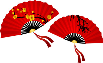 Chinese New Year Greeting Card. Plain red Chinese fan on white background