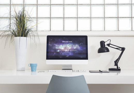 Desktop Computer at an Office Desk Mockup 1