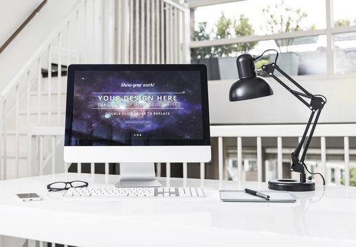 Desktop Computer at an Office Desk Mockup 2