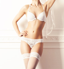 Young and sexy woman posing in erotic lingerie