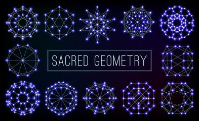 Blue cosmic sacred geometry symbols vector set