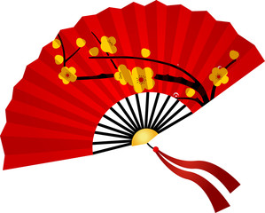 Chinese New Year. Red Chinese the fan on white background- Vector