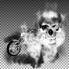 chopper motorbike with skull in smoke