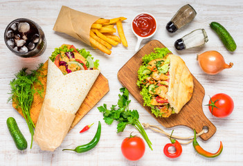 Shawarma and Doner Kebab with Fresh Vegetables
