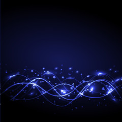 Blue abstract waves background illustration.