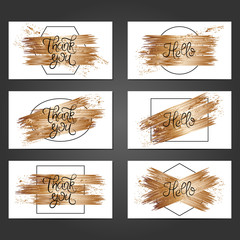 Collection of 6 vintage card templates with copper brushstrokes on white background.