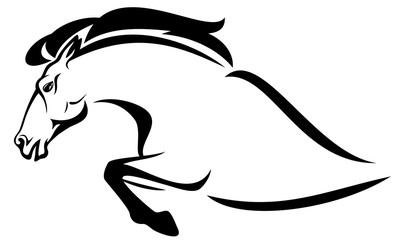 profile horse jump black and white vector outline