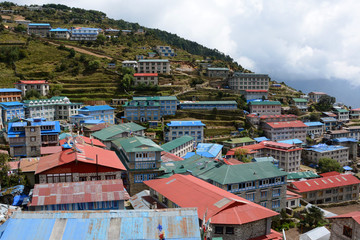 Trekking in the mountains, Nepal. Namche Bazar, town in the middle of mountains.