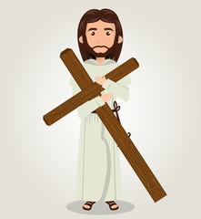 Jesus christ carrying cross design vector illustration eps 10
