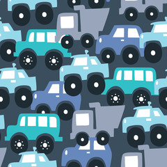 seamless colorful car cartoon pattern vector illustration