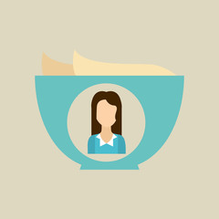 bowl butter icon character woman graphic vector illustration
