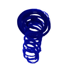 Spiral of dark blue color, painted with watercolors