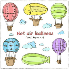 Hot Air Balloons set. Vintage illustration for identity, design, decoration, packages product and interior decorating