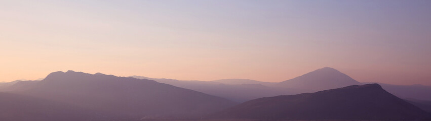 Sunset. ridge Mountains. Skyline. Dinaric Alps. Sky gradient. Na