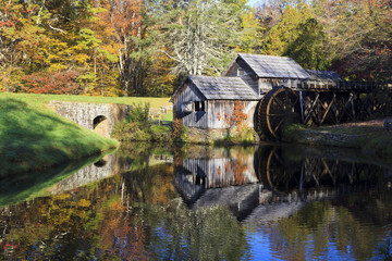 Canvas Prints Mills Historic Mabry Mill on the Blue Ridge Parkway in Meadows of Dan, Virginia in the fall