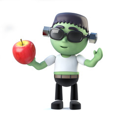 3d Halloween frankenstein monster eats an apple