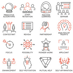 Vector set of 16 linear thin icons related to striving for success, leadership development, career progress, corporate management. Mono line pictograms and infographics design elements - part 3