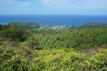 Viewpoint from the heights of the island of Rurutu with the coastal village of Auti, south Pacific ocean, Austral archipelago, French Polynesia