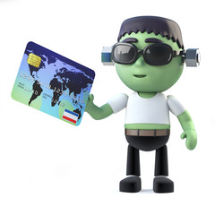 3d Halloween Frankenstein monster pays with debit card