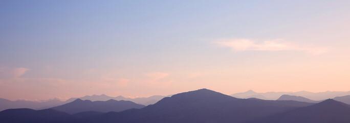 Sunset. ridge Mountains. Skyline. Dinaric Alps. Sky gradient. Lo Wall mural