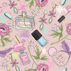 Seamless beauty pattern with make up, perfume, nail polish, flow