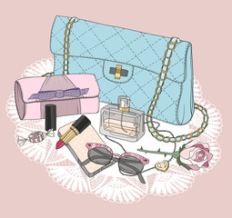 Fashion essentials. Background with bag, sunglasses, shoes, jewe
