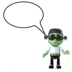3d Halloween Frankenstein monster with speech balloon