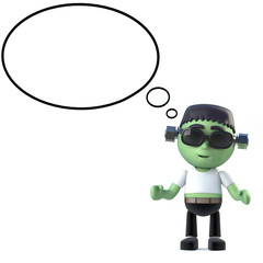 3d Cute Halloween Frankenstein monster with thought bubble