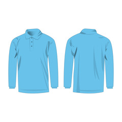 baby blue polo with long sleeve isolated vector