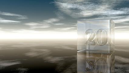 die zahl zwanzig in glaswürfel unter wolkenhimmel - 3d illustration