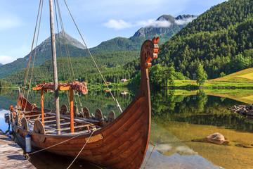 Old viking boats replica in a norwegian landscape