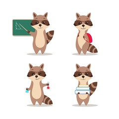 At school. Cute raccoon at a lesson of geometry wrote in chalk on blackboard. At a lesson of chemistry. With a backpack. With books. Isolated white background.