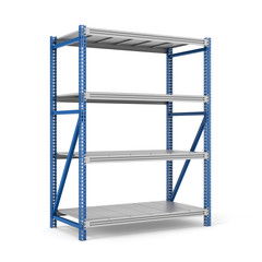 Rendering of four-storey steel storage rack isolated on the white background.