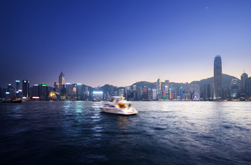 Fototapete - Hong Kong Harbour at sunset