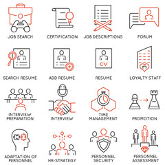 Vector set of 16 linear thin icons related to striving for success, leadership development, career progress, corporate management. Mono line pictograms and infographics design elements - part 5
