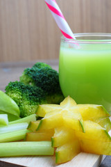 healthy mixed green juice from star fruit, guava, broccoli and celery.