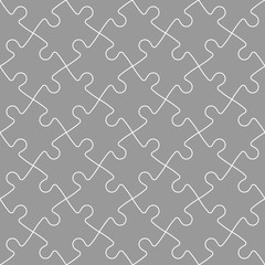 Jigsaw puzzle seamless background. Mosaic of grey puzzle pieces with white outline in diagonal arrangement. Simple flat vector illustration.