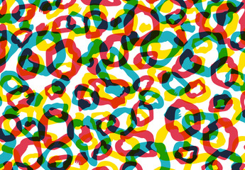 Abstract, Multicolored Overlapping Circles Pattern