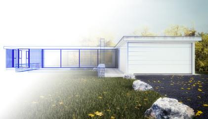 Bauplanung Wohnhaus 3D render Skizze
