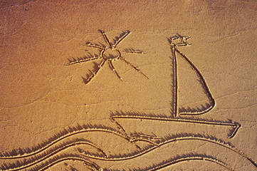 Drawing of a sailing vessel in the sea with the sun on sea sand on the beach. Sea tour.