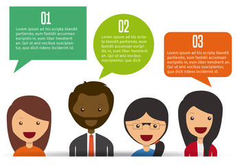 Talk Bubble Element Infographic with Cartoon Style People Icons