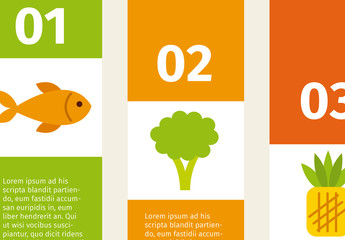 Vertical Tab Nutrition Infographic with Fish and Produce Icons